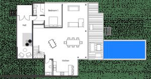 plan rdc villa bahia